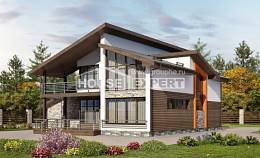 200-010-R Two Story House Plans with mansard roof with garage in back, modern Home Plans, House Expert