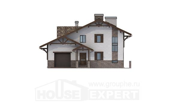 305-002-R Three Story House Plans with mansard roof and garage, modern Architects House