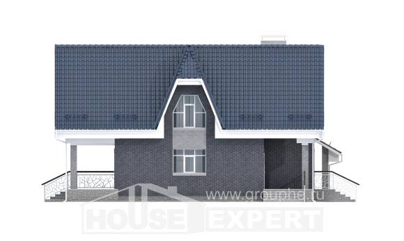 125-002-L Two Story House Plans and mansard with garage in front, economical Floor Plan,