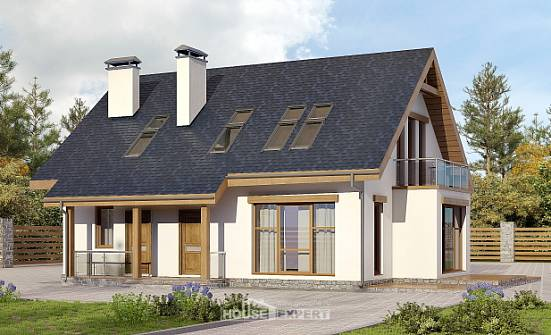 155-012-R Two Story House Plans with mansard roof, inexpensive Architects House,