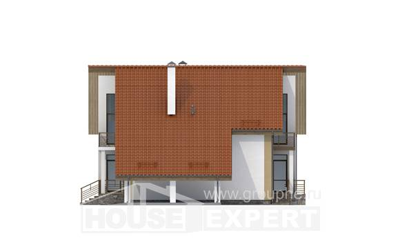 170-009-R Two Story House Plans with mansard roof and garage, modern Architect Plans