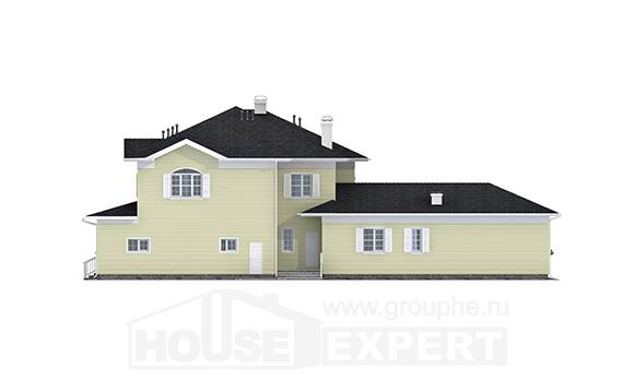 410-002-L Two Story House Plans with garage in back, classic Blueprints,