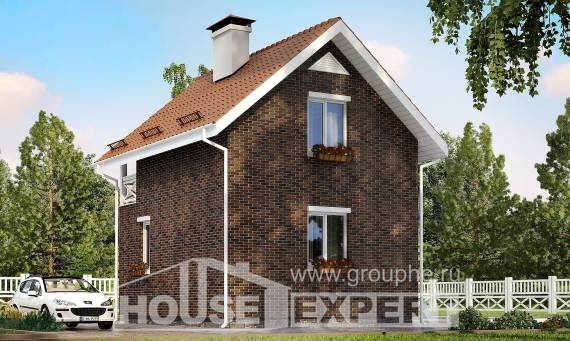 045-001-L Two Story House Plans with mansard, compact Construction Plans,