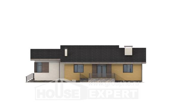 135-002-L One Story House Plans with garage under, classic Construction Plans