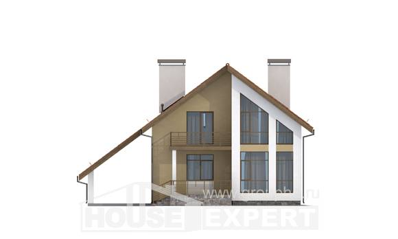 170-009-R Two Story House Plans with mansard with garage, cozy Building Plan
