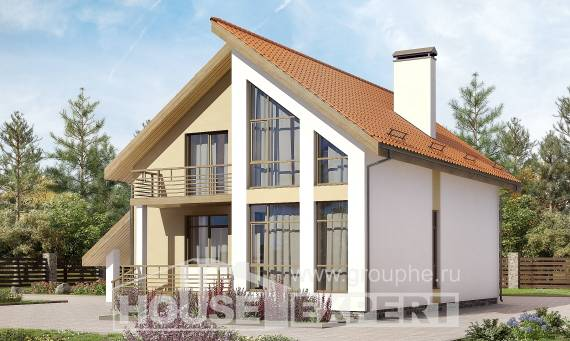 170-009-R Two Story House Plans and mansard and garage, modest Construction Plans