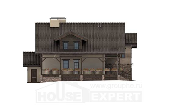 255-002-R Two Story House Plans and mansard with garage in back, luxury Villa Plan,