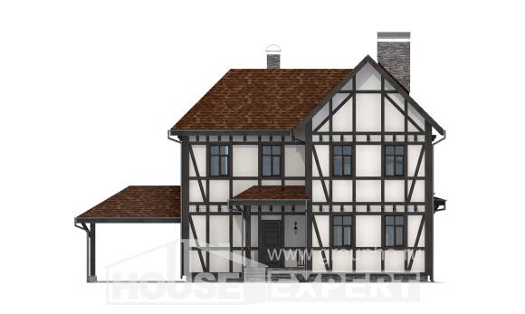 180-004-L Two Story House Plans with mansard with garage under, classic Home House,