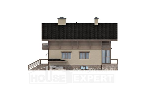420-001-L Three Story House Plans and mansard with garage in front, modern House Online