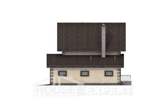 160-004-R Two Story House Plans and mansard and garage, the budget Architectural Plans,