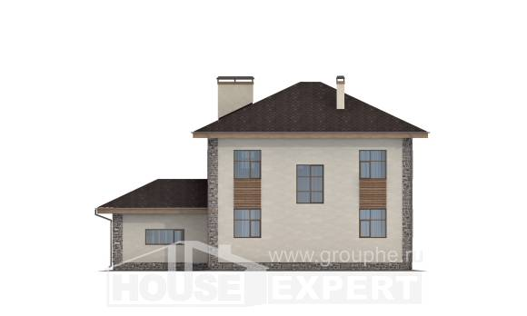 185-004-R Two Story House Plans with garage, luxury Woodhouses Plans,