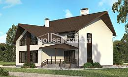 300-002-R Two Story House Plans and mansard with garage under, beautiful Villa Plan,