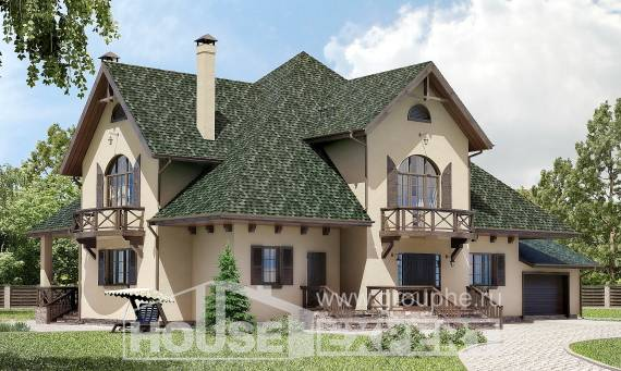 350-001-R Two Story House Plans with mansard roof with garage in back, cozy Villa Plan