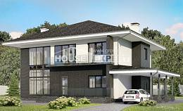 245-002-R Two Story House Plans with garage in front, cozy Architect Plans,