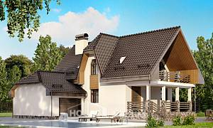 150-001-L Two Story House Plans and mansard with garage in back, small Planning And Design,