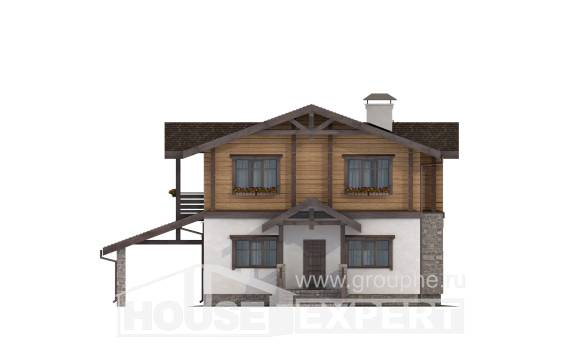 170-004-L Two Story House Plans with mansard and garage, a simple House Online,