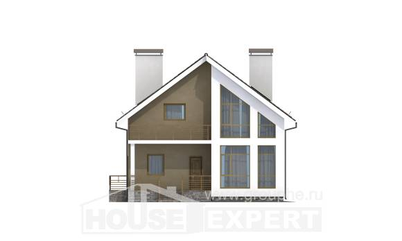170-006-L Two Story House Plans and mansard, compact Villa Plan