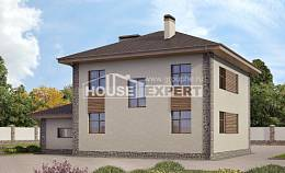 185-004-R Two Story House Plans with garage under, spacious Building Plan,