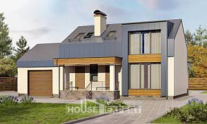 150-015-R Two Story House Plans with mansard roof with garage, inexpensive Home Blueprints