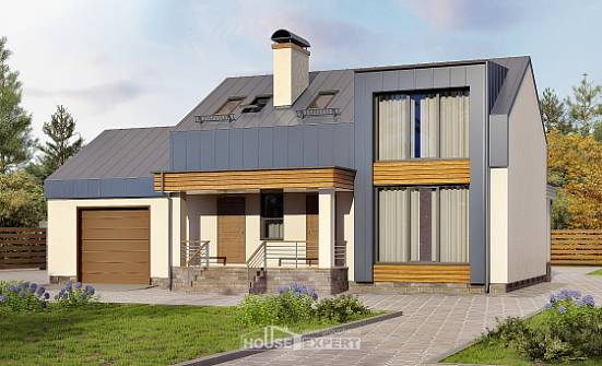 150-015-R Two Story House Plans with mansard with garage in front, the budget Timber Frame Houses Plans,