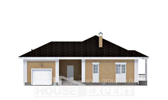 130-002-L One Story House Plans with garage in back, classic House Online