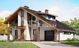 180-008-R Two Story House Plans with mansard roof with garage under, classic Plan Online,