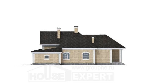 290-001-R Two Story House Plans and mansard with garage under, luxury Home Plans, House Expert