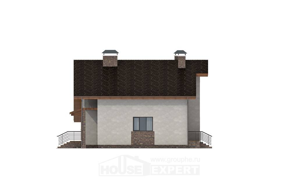 180-008-L Two Story House Plans with mansard roof with garage in front, a simple Drawing House,