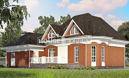180-007-R Two Story House Plans with mansard roof with garage in front, beautiful Home Blueprints