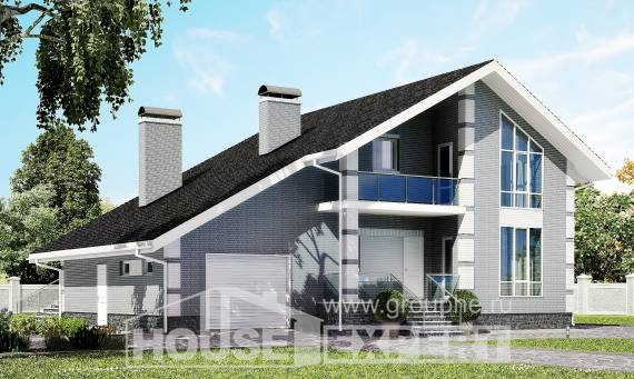 190-006-L Two Story House Plans and mansard with garage under, spacious Custom Home,