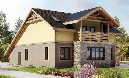 180-011-R Two Story House Plans and mansard with garage, a simple House Plan, House Expert
