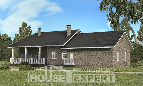 195-001-R One Story House Plans, a simple Villa Plan,