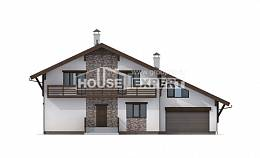 280-001-R Two Story House Plans and mansard with garage in back, spacious House Planes,