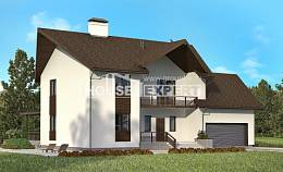 300-002-R Two Story House Plans with mansard with garage in front, luxury Planning And Design,