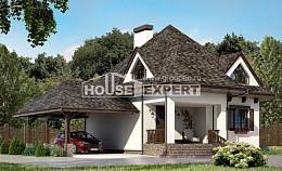 110-002-L Two Story House Plans with mansard with garage in front, modest Architects House,