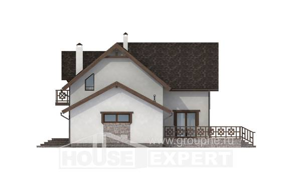180-013-R Two Story House Plans and mansard with garage in front, compact Blueprints of House Plans,