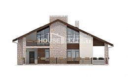 480-001-L Two Story House Plans with mansard, big House Building,