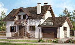 180-013-R Two Story House Plans with mansard with garage under, classic Cottages Plans,