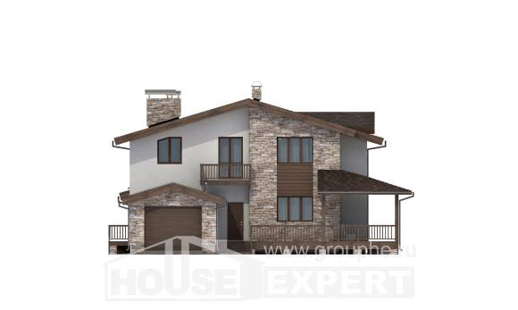 220-001-R Two Story House Plans and mansard with garage in front, best house House Plans,