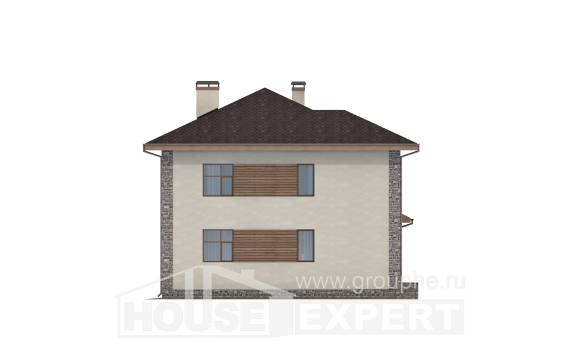 185-004-R Two Story House Plans with garage under, classic Woodhouses Plans,