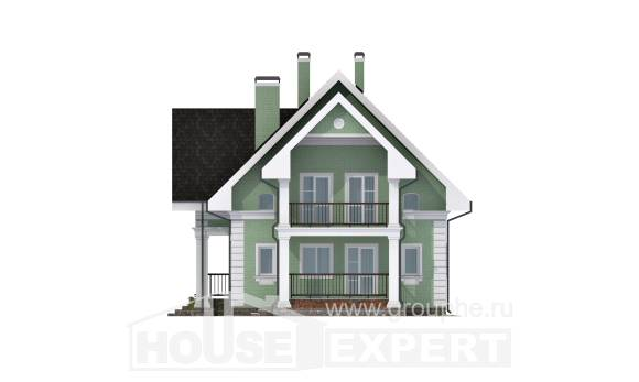 140-003-L Two Story House Plans with mansard with garage under, modest Drawing House, House Expert