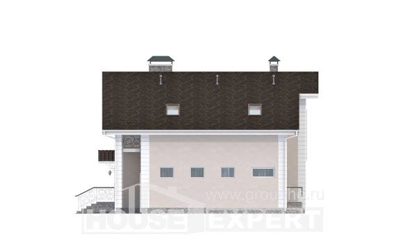 150-002-R Two Story House Plans and mansard with garage in back, a simple Architects House, House Expert