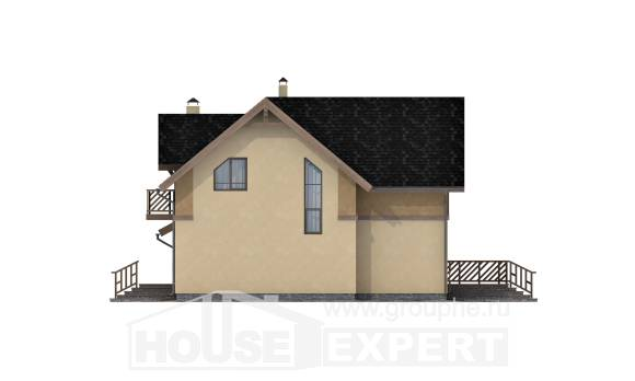 150-011-L Two Story House Plans with mansard roof with garage in back, cozy Drawing House,