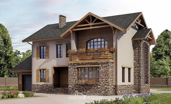 200-005-L Two Story House Plans with garage in front, classic Architect Plans,