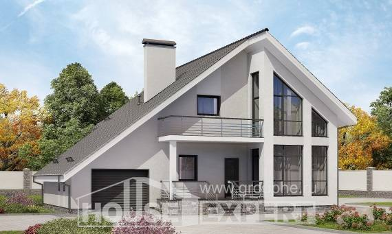 200-007-L Two Story House Plans with mansard roof with garage in front, best house Plans To Build,