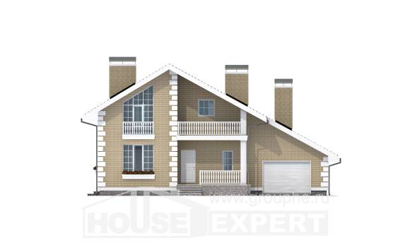 190-005-R Two Story House Plans with mansard with garage in back, luxury House Blueprints,
