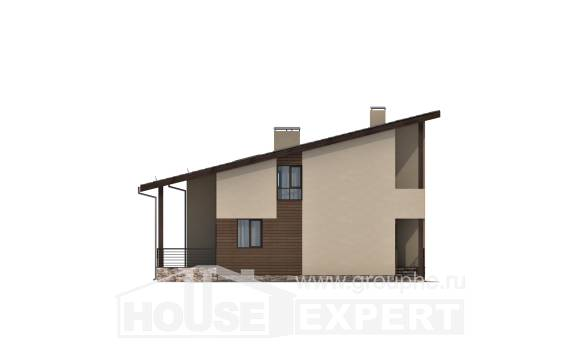 140-005-L Two Story House Plans with mansard roof, inexpensive House Plan,