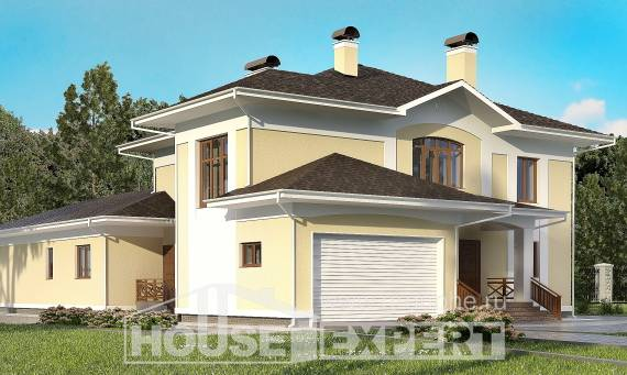 375-002-L Two Story House Plans with garage under, modern Models Plans