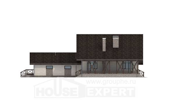 265-001-R Two Story House Plans and mansard with garage in back, modern Online Floor
