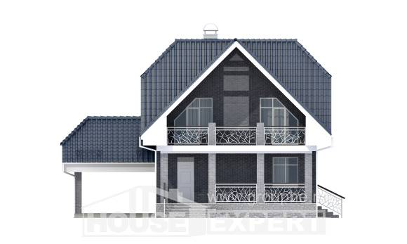 125-002-L Two Story House Plans with mansard and garage, classic Design Blueprints,